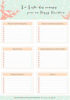 Liste de courses pour le réveillon de NOEL à imprimer