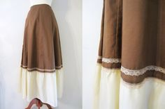 Cappuccino A-Line Maxi Skirt by Kati, XS-S / // Vintage Brown and Cream Lace Skirt Cream Lace Skirt, Finland, Line, Im Not Perfect, Brown, Skirts, Handmade, How To Wear, Skirt