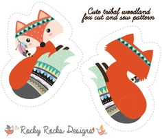 Cut and sew Tribal Woodland Fox fabric by rocky_rocks_designs on Spoonflower - custom fabric Tela Tribal, Tribal Fox, Tribal Animals, Fox Fabric, Pillow Fabric, Sewing For Kids, Diy For Kids, Embroidered Christmas Ornaments, Fox Pillow