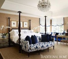 Love the monogrammed pillow cases. Not so much the chandelier.