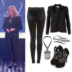 """Demi Lovato performed her new single """"Heart Attack"""" on Britian's Got Talent last night wearing a Saint Laurent Leopard Print Blazer ($2415.69), her Topshop Disco Treggings ($40.00), a Lanvin Dedale Collar Necklace ($2,450.00) and a pair of Charmed Booties By CJG ($350.00) from Topshop. You can get her look for cheaper with a Forever 21 Satin Lapel & Trim Blazer ($29.99) and Dorothy Perkins Black Studded High Sandals ($55.00)."""
