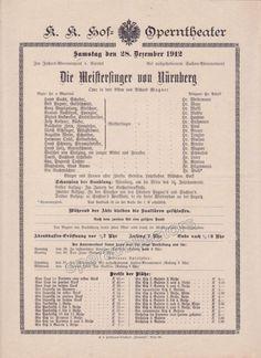 Imperial & Royal Court Opera Playbill - Die Meistersinger von Nurnberg - Dec. 28th, 1912