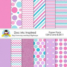 Doc Mc Inspired Digital Paper Pack Pink Purple Blue by ClipArtopia, $5.00