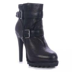 Ash Genius brado black leather high heel ankle boot