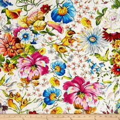 Fantasia Master Floral White Fabric By The Yard Red Peach, Peach And Green, Pink Yellow, White Lilies, Fabulous Fabrics, Fabric Wallpaper, Cotton Quilts, Fabric Swatches, White Fabrics