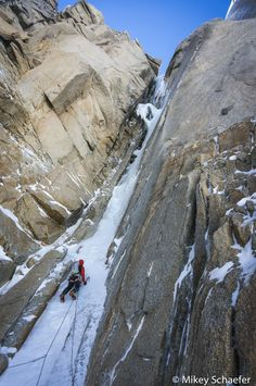Two wild new ice routes in Patagonia got done in the beginning of January [Photo of Joel Kauffman on Super Domo, by Mikey Schaefer. Alpine Climbing, Mountain Climbing, Rock Climbing, Ice Climber, Trekking, In Patagonia, Colorado Hiking, Kayak, Mountaineering