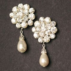 Vintage Style Statement Wedding Earrings, Pearl Teardrop Bridal Earrings, Rhinestone Stud Earrings, Art Deco Style Bridal Jewelry, ELIZABETH. $68.00, via Etsy.
