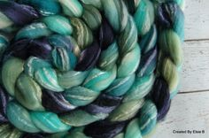 BFL/Seacell combed top 'Atlantis~Twist' OOAK colorway, 4 oz hand dyed spinning fiber, felting wool, navy, blue, teal, aqua, green