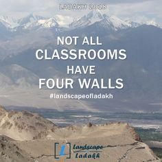 Travel Quote :  NOT ALL CLASSROOMS HAVE FOUR WALLS. #landscapeofladakh #ladakh #ladakhtour #ladakhquote #leh #travelquote Leh Ladakh, Travel Quotes, Trekking, Traveling, Tours, Explore, Adventure, Landscape, Beach