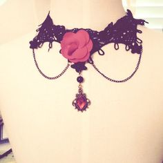 Brand New Punk Rose Lace Victorian Choker Brand New Adorable Lace Red Rose chained Choker Hot Topic Jewelry Necklaces