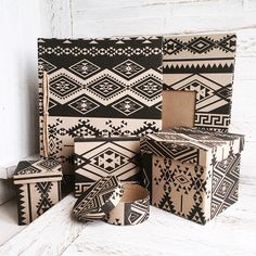 """Introducing our new """"Tribal"""" line of paper products and boxes by Papemelroti, inspired by textiles seen around Asia."""