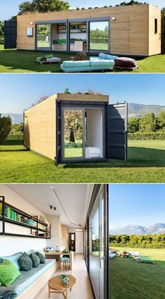 Modular shipping container homes by Cocoon Modules: Athens-based company Cocoon Modules in collaboration with eco-furniture brand Coco-Mat has created a modular shipping container home. Build your own shipping container home! Storage Container Homes, Building A Container Home, Container Buildings, Container Architecture, Sustainable Architecture, Cargo Container, Tiny Container House, Sea Container Homes, Container Store