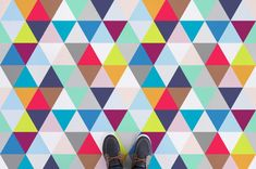 Multicolour Triangle Pattern Flooring, leading Vinyl Flooring designed and manufactured by Atrafloor. Bring any design to life as Flooring. Floor Patterns, Tile Patterns, Patterned Vinyl, Luxury Vinyl Flooring, Triangle Pattern, Home Room Design, Decorating Blogs, Interior Decorating, Floor Design