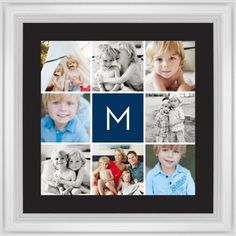 Gallery Monogram Framed Print, White, Classic, Black, Black, Single piece, 16 x 16 inches, Blue