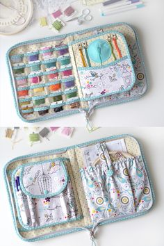 "The project case closed on zipper: -one pocket close zipper (back side of organizer) - needles , thimble and other accessories - open pockets of cross stitch tools - pocket(closed flap) - for small scissors - one pocket for around hoop - diameter till 6.7"" (17cm) -floss organizer - 6 rows clear vinyl pockets for 24 small bobbins -felt needle holder - 4 rings - for floss threads"