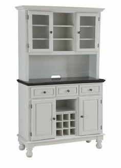 Home Styles 5300-0024-02 Premier Buffet of Buffets Black Granite Top Buffet with Hutch, White Finish by Home Styles. $731.33. Measures 43-3/4-inch width by 16-inch depth by 72-inch height. This buffet with hutch is designed to provide added storage and workspace for the kitchen and dining areas of the home. Comes in a white finish with a black granite top with OG edging. Made of asian hardwood and granite. Features glass doors with wood trim that open to two adjust...