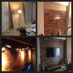 DIY wood wall plank with floor laminate..plus 3 spot lights and a mounted tv...awesome!