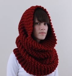 cowl - awesome!  Goth color, like little red riding hood gone bad:-)
