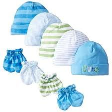 Pack of 6 Gerber Baby-Boys Newborn Solid Cap Bundle Blue 0-6 Months
