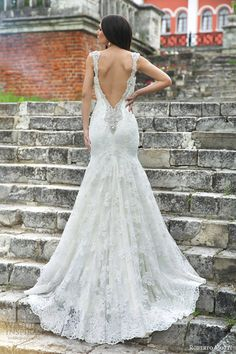 roberto motti 2015 monica cap sleeve mermaid wedding dress lace back view