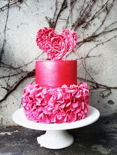Ruffle Heart St. Valentine's Day inspired wedding cake