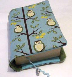 *♥Buchhülle Buchumschlag Eulen auf Baum incl. Lesezeichen ♥für dicke & dünne Bücher!*     Für Taschenbücher dick und dünn!   Dein Buch für unterwegs-