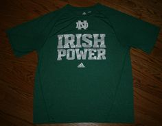 Notre Dame Fighting Irish Power ND T-Shirt Adidas Climalite Men's Large green #adidas #NotreDame