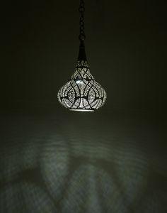 Small Silver Teardrop Pendant Light