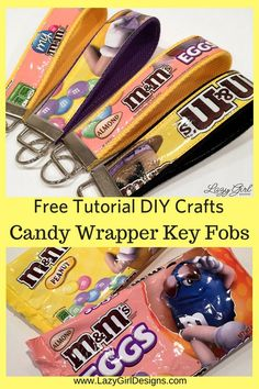 Go ahead and eat the candy! Save the beautiful wrappers and make these quick and easy candy wrapper key fobs. Free sewing tutorial. Great for quick gifts. Add to backpack or purse, hold spare keys. #LazyGirlDesigns #KeyFob #LazyGirlInterfacing #QuickGifts #DIY #Recycle #Upcycle #DIYproject #Sewing #SewingHardware