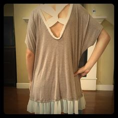 BRAND NEW Taupe v back top Taupe v back top Tops