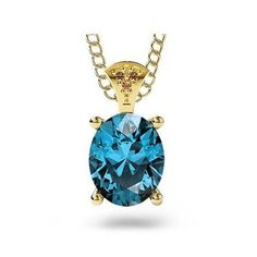 14K Yellow Gold London Blue Topaz Pendant Necklace with Brown Diamond - Arabella Pendant Necklace