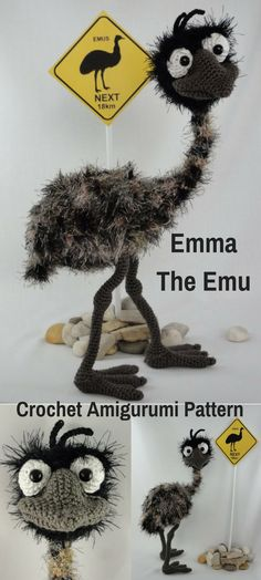 Emma the Emu is an adorable crocheted amigurumi doll that would loves to travel and visit new places. You can create your own Emma the Emu with this downloadable pattern. #crochet #amigurumi #crochetdoll #ad #amigurumidoll #amigurumipattern #emu #instantdownload