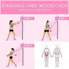 """- Double tab if you want more exercise explanations! - Standing Cable Wood Chop Main muscle: abdominals - Starting position: Attach a standard handle on a…"""