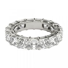 0.88 Carat Round Diamond Wedding Eternity Ring 14k White Gold French Pave Set Durable Modeling Fine Jewelry