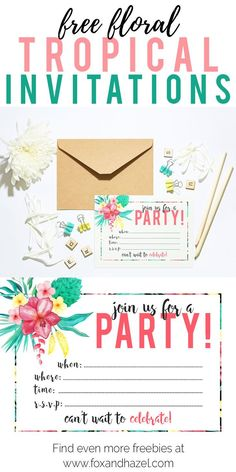 Free Tropical Party Invitations