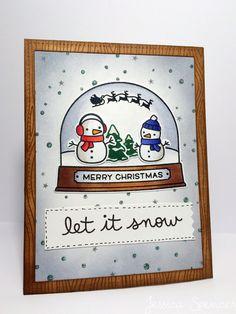 Ready, Set, Snow Christmas card - Lawn Fawn