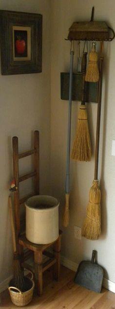 my broom holder. Old Rake for Broom Holder etc in Laundry Room. Laundry Room Storage, Laundry Closet, Broom Storage, Brooms And Brushes, Rake Head, Broom Holder, Country Primitive, Country Decor, Prim Decor