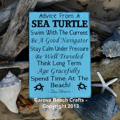 Beach Decor Beach Sign Nature Advice From A Sea Turtle Wood Sign