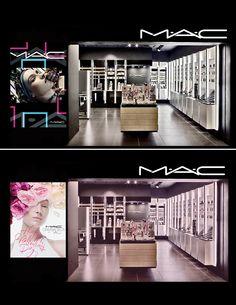 Kate spade, mac cosmetics - window display on behance mac store, store counter, Cosmetic Display, Cosmetic Shop, Shop Interior Design, Retail Design, Display Design, Store Design, Tienda Mac, Mac Cosmetics, Mac Store