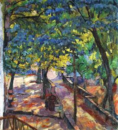 Unter den Kastanien, 1919. Giovanni Giacometti (1869-1933)  was a Swiss painter & father of artists Alberto, Diego, and architect Bruno. In 1886 he met Cuno Amiet, who became his close friend and with whom he studied the works of the French impressionists. He moved along with Amiet to Paris in 1888. He went to the spring salon, where he was deeply impressed by some paintings.