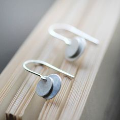 bellissima  brushed silver coin earrings by elephantine on Etsy, $26.00