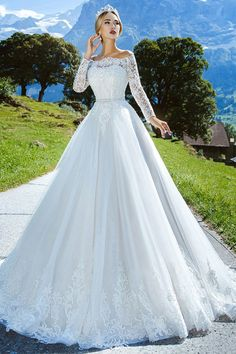 Amazing Tulle Off-the-shoulder Neckline A-line Wedding Dress With Lace Appliques & Beading & Belt