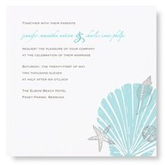 The soft texture of letterpress printing of a scallop shell, starfish, sand dollar and conch shell combined with our letterpress square card stock card and the aqua and taupe ink colors creates a breezy beach setting for your invitation wording. Whet The best wedding photographer - http://www.yannislarios.com/blog/category/greek-wedding-photographer/