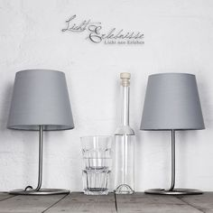 Praktisches 2er Set Nachttischlampen mit grauem Stoffschirm E14 Tischleuchten 5