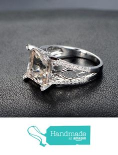 Princess Morganite Engagement Ring Pave Diamond Wedding 14K White Gold 10mm Filigree from the Lord of Gem Rings https://www.amazon.com/dp/B01GVU09J4/ref=hnd_sw_r_pi_dp_v9dHxbBNKNE52 #handmadeatamazon