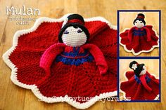 Thanks so much to Briana Olson of Bowtykes for the incredible Pretty Princess Lovey pattern! These free notes are for turning her base pattern into several recognizable characters - Tinkerbell, Elsa & Anna (Frozen), and Mulan (in her matchmaker outfit). Crochet Security Blanket, Crochet Lovey, Lovey Blanket, Baby Blanket Crochet, Crochet Dolls, Free Crochet, Crochet Princess, Crocheted Toys, Dou Dou