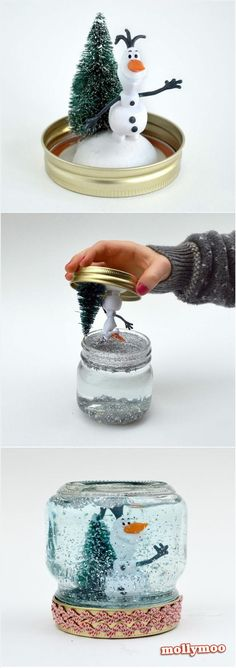 DIY Olaf Snow Globe by mollymoocrafts via humormadness: http://mollymoocrafts.com/christmas-crafts-snow-globe/ #Snow_Globe