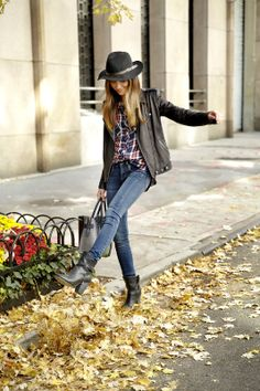 Plaid, leather and boots. The perfect fall outfit.