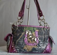 Purple western mossy oak purses | Details about WESTERN PURPLE CAMO MOSSY OAK HORSE HORSESHOE CONCHO ...
