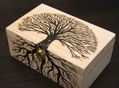 Wood Profit - Woodworking - I love trees. Gotta wood burn a big plaque of a tree or some wheat or something Discover How You Can Start A Woodworking Business From Home Easily in 7 Days With NO Capital Needed! Wood Burning Stencils, Wood Burning Crafts, Wood Burning Patterns, Wood Burning Art, Wood Crafts, Wooden Box Crafts, Wooden Toy Boxes, Wood Boxes, Painted Wooden Boxes